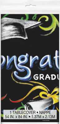Chalkboard Graduation Rectangular Plastic Table Cover  54