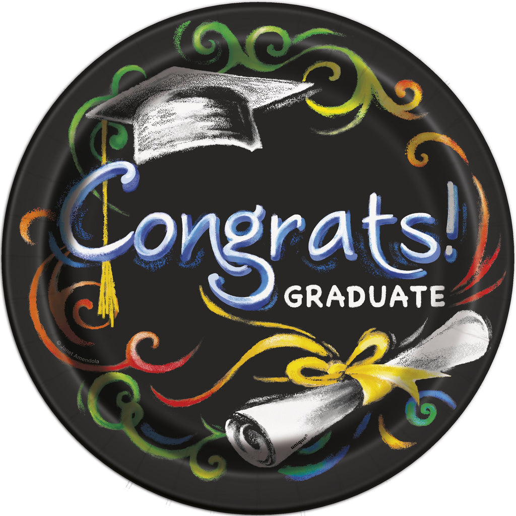 "Chalkboard Graduation Round 9"" Dinner Plates  8ct"