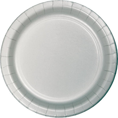 9 in. Shimmering Silver Paper Lunch Plates 24 ct