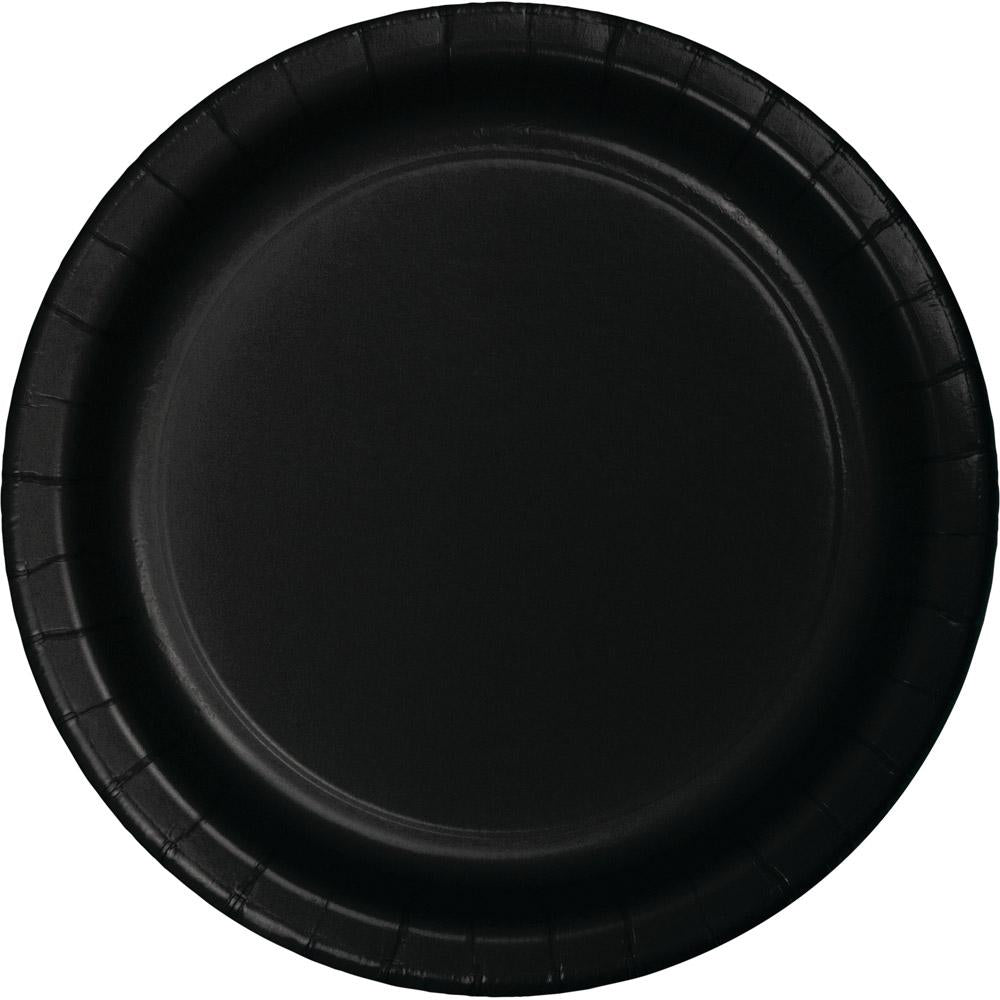 9 in. Black Paper Lunch Plates 24 ct