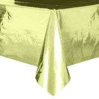"Gold Foil Rectangular Plastic Table Cover  54""x108"""
