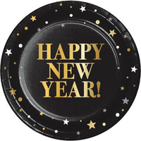 Golden New Year Paper Dessert Plates 8 ct.