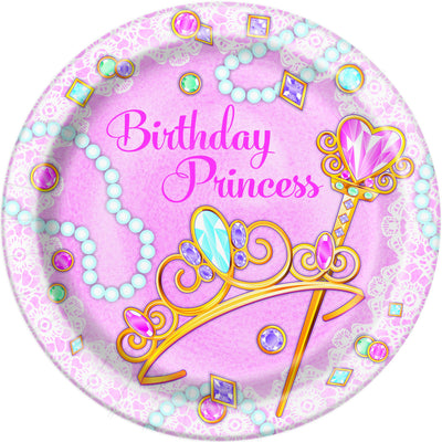 9 in. Pink Princess Paper Plates 8 ct