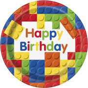 Building Blocks Dinner Birthday Plates 8 ct.