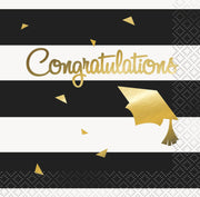 Gold and Striped Congratulations Grad Beverage Napkins  16ct - Foil Stamped