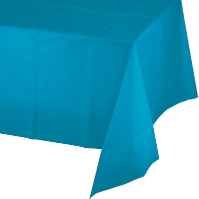 Turquoise Plastic Tablecover 54 in. X 108 in. 1 ct.
