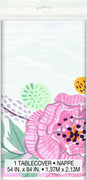 Floral Bridal Plastic Tablecover 54 in. X 84 in.
