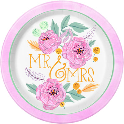 9 in. Floral Bridal Plates 8 ct