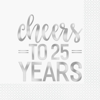 Silver Foil Cheers to 25 Years Luncheon Napkins  16ct - Foil Stamped