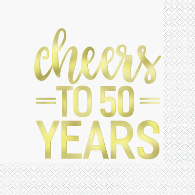 Gold Foil Cheers to 50 Years Luncheon Napkins  16ct - Foil Stamped