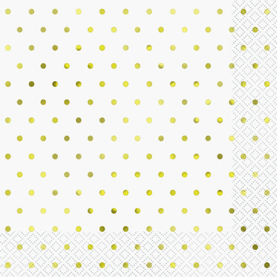 Elegant Gold Foil Dots Luncheon Napkins  16ct - Foil Stamped