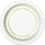 "Elegant Gold Foil Dots Round 9"" Dinner Plates  8ct - Foil Board"