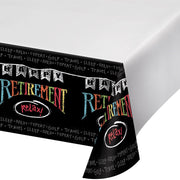 Chalk Retirement Plastic Tablecover 54 in. X 102 in. 1 ct.