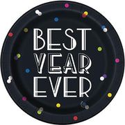 "Neon Dots New Years Round 7"" Dessert Plates  8ct"