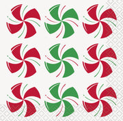 Peppermint Christmas Beverage Napkins  16ct