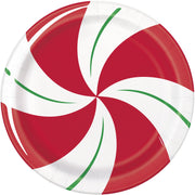 "Peppermint Christmas Round 9"" Dinner Plates  8ct"