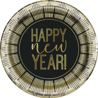 "Roaring New Years Round 7"" Dessert Plates  8ct - Foil Board"