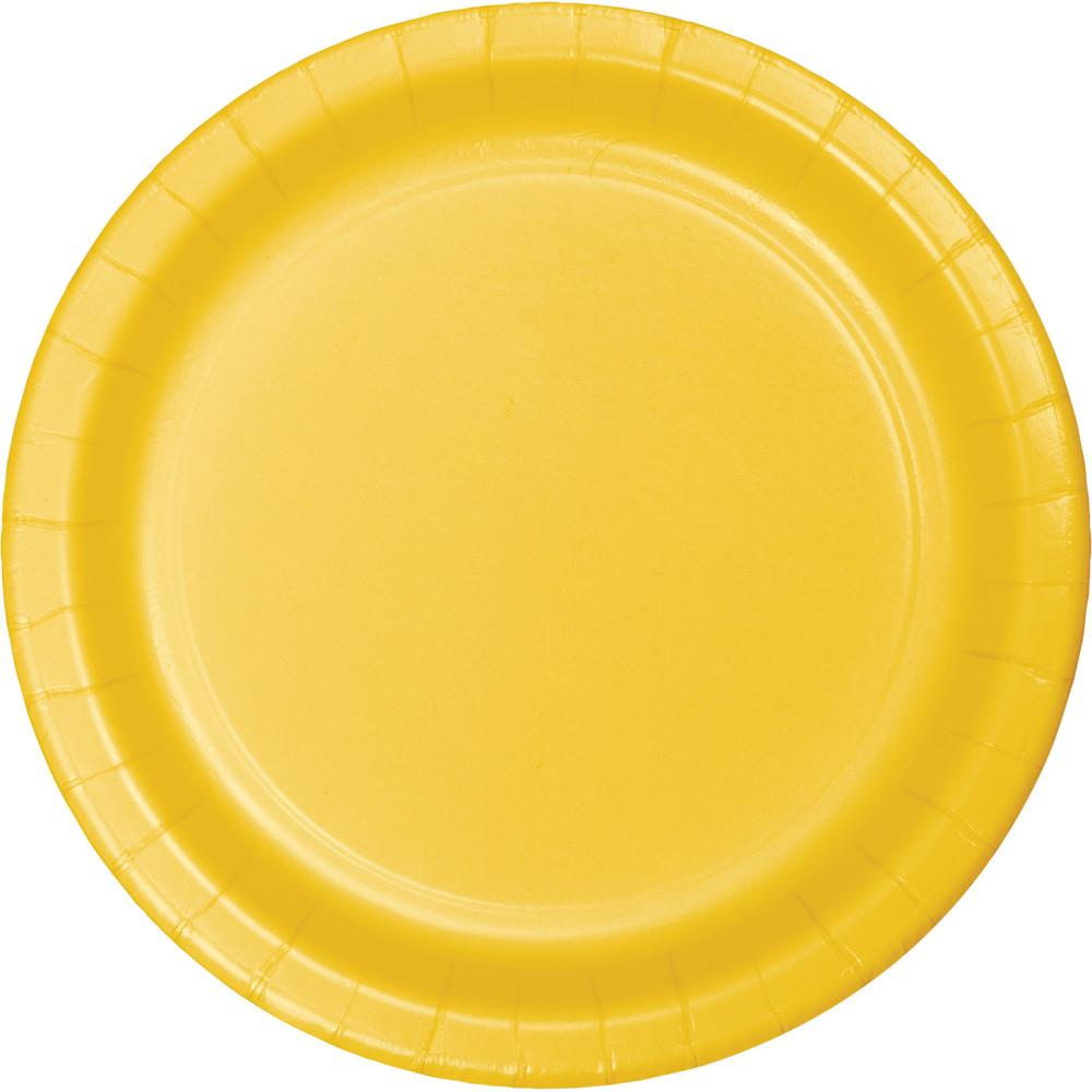 7 in School Bus Yellow Dessert Plates 24 ct