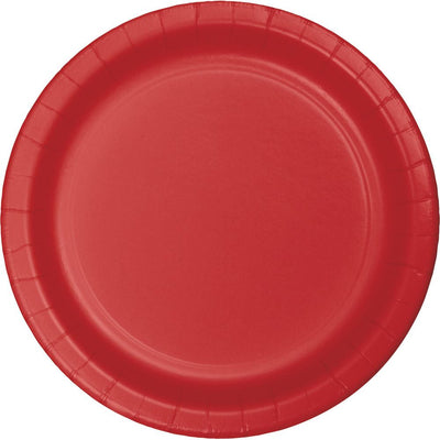 7 in Classic Red Paper Dessert Plate 24 ct