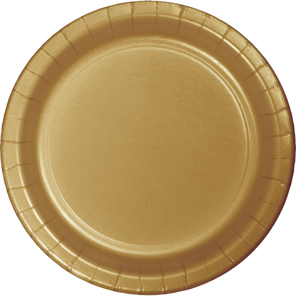 7 in. Glittering Gold Dessert Paper Plates 24 ct