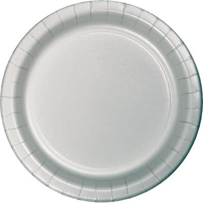 7 in. Shimmering Silver Paper Dessert Plates 24 ct