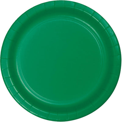 7 in. Emerald Green Dessert Paper Plates 24 ct.
