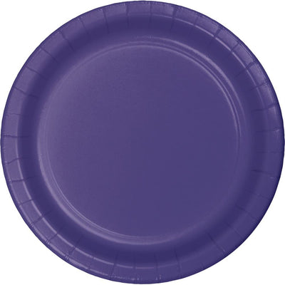 7 in. Purple Paper Dessert Plates 24 ct