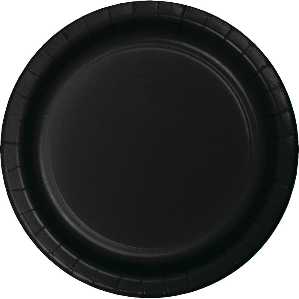 7 in. Black Paper Dessert Plates 24 ct