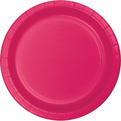 7 in Hot Pink Paper Dessert Plates 24 ct