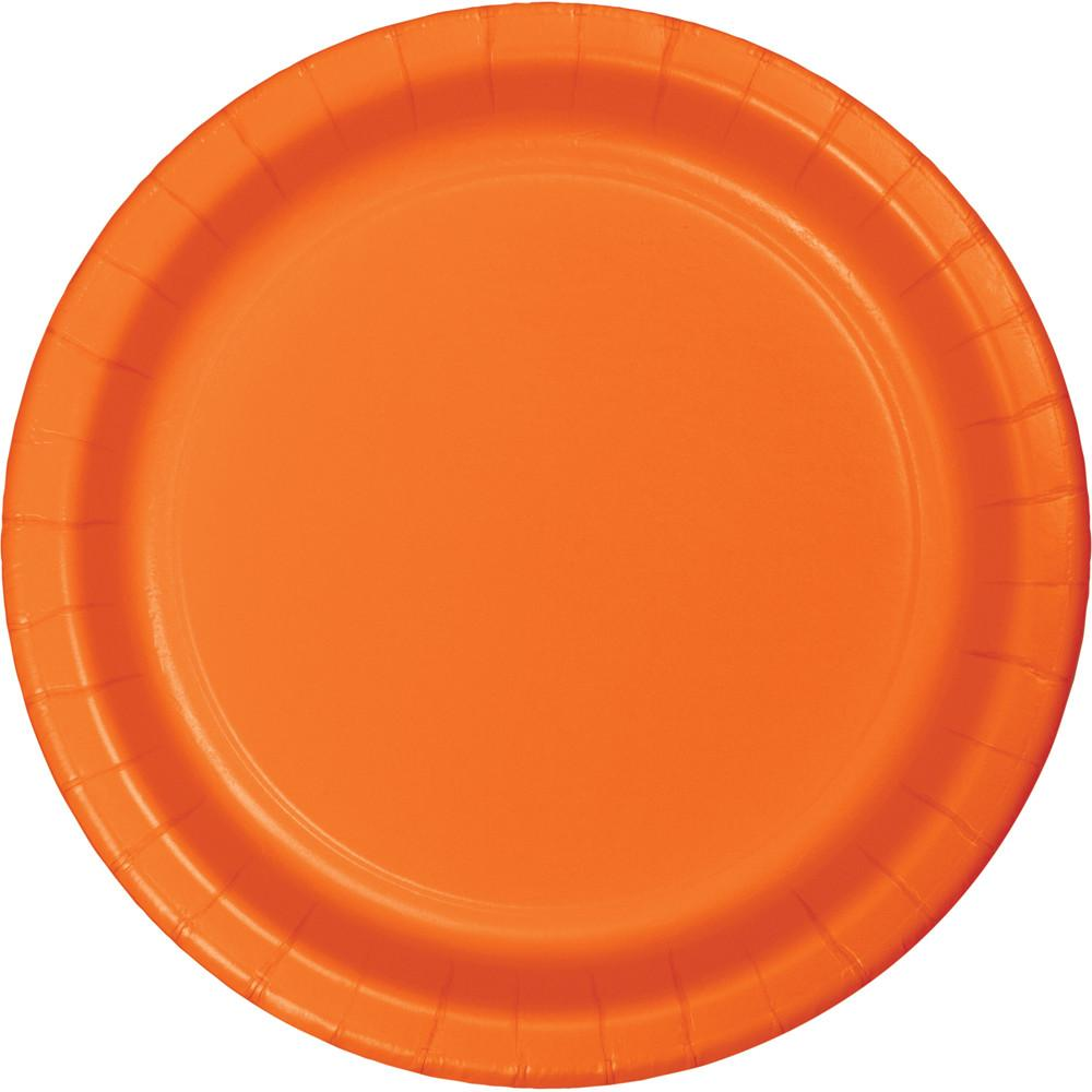 7 in. Sunkissed Orange Dessert Paper Plates 24 ct.