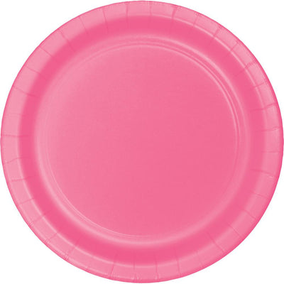 7 in. Candy Pink Paper Dessert Plates  24 ct