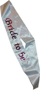 White Flashing Bride To Be Sash with Hot Pink Letters 1 ct.
