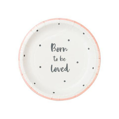 Born To Be Loved Dessert Plates Pink 12 ct.