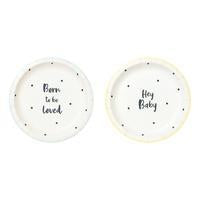 Born To Be Loved Dessert Plates 2 Designs  12 ct.