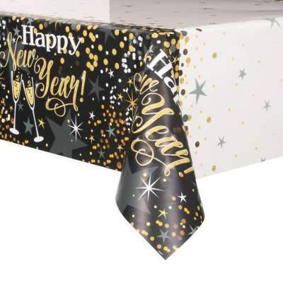Glittering New Year Rectangular Plastic Table Cover  54