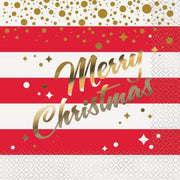 Gold Sparkle Christmas Luncheon Napkins  16ct - Foil Stamped