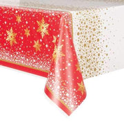 "Gold Sparkle Christmas Rectangular Plastic Table Cover  54""x84"""