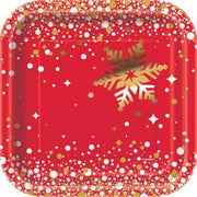 "Gold Sparkle Christmas Square 7"" Dessert Plates  8ct - Foil Board"