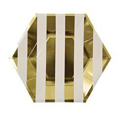 Gold Striped Lunch Plates 8 ct.