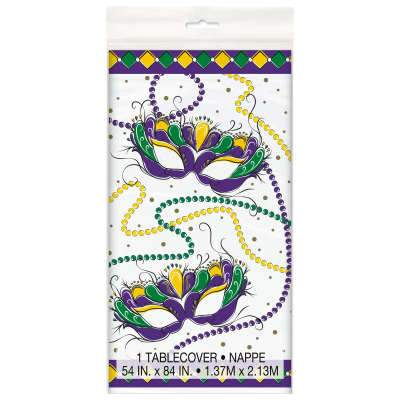 Jazzy Mardi Gras Rectangular Plastic Table Cover  54