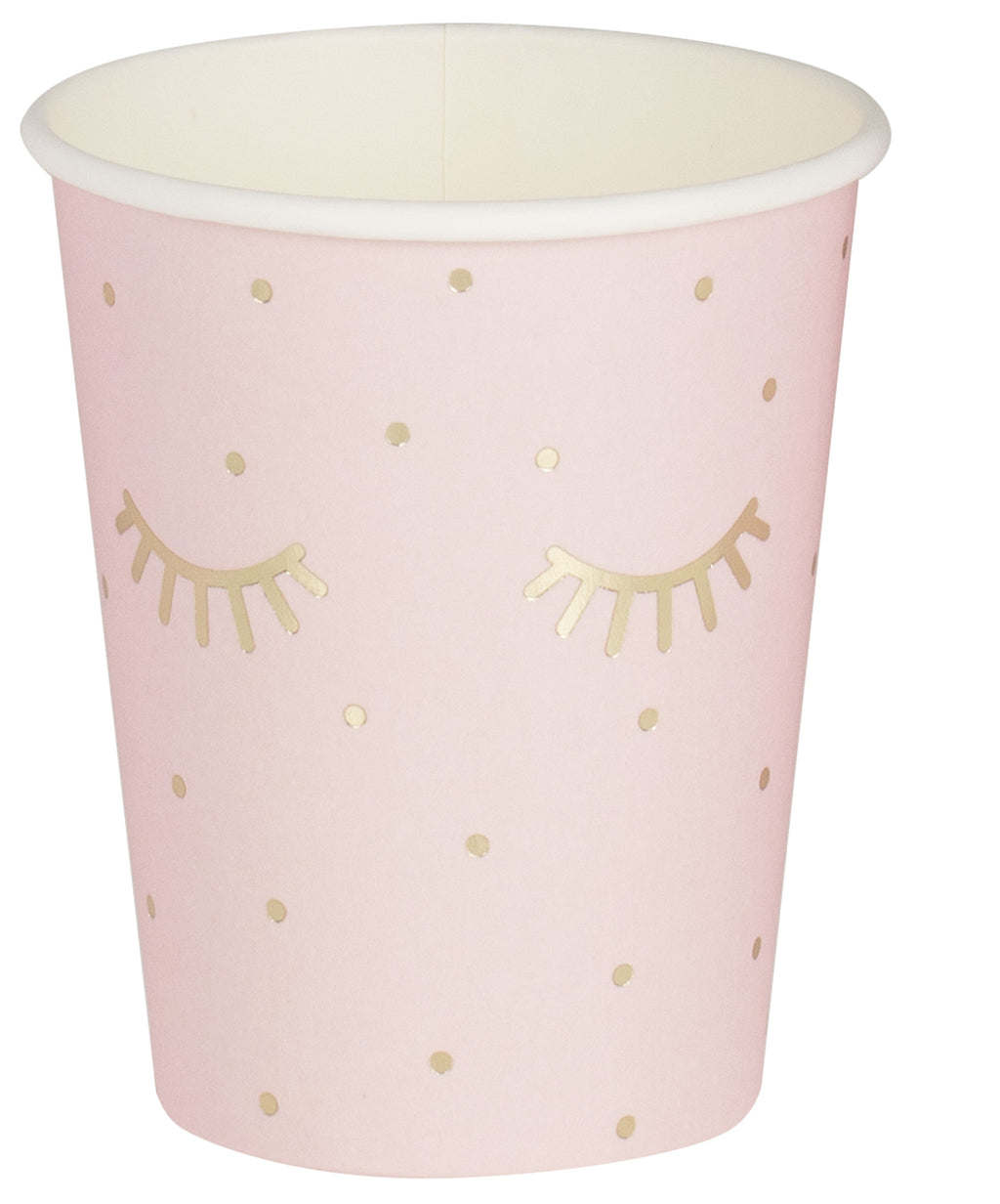 Gold Foiled and Pink Sleepy Eyes Paper Cups