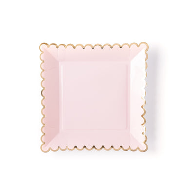 Blush Scalloped Paper Plates 12 ct.