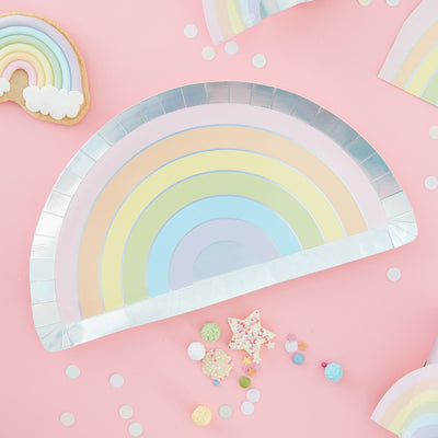 Ginger Ray Pastel Party Rainbow Shaped Iridescent Foiled Paper Plates 8 ct.
