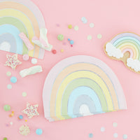Ginger Ray Pastel Party Rainbow Shaped Iridescent Foiled Paper Napkins 16 ct.