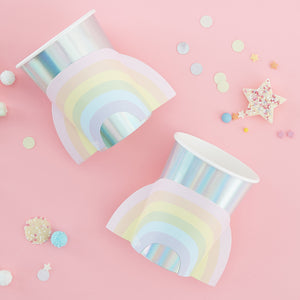 Ginger Ray Pastel Party Rainbow Shaped Paper Cups 8 ct.