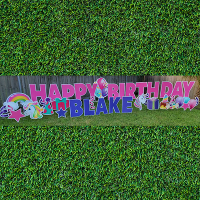 Unicorn Happy Birthday - WEEKDAY Yard Card Rental
