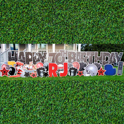 Happy Birthday Spelled Out WEEKEND Yard Card Rental