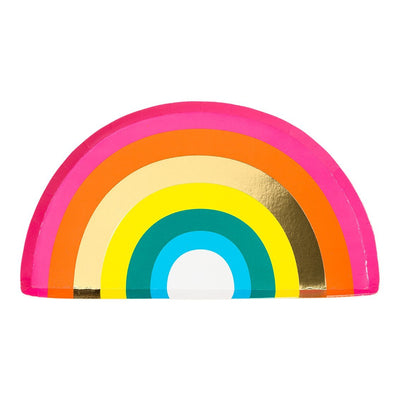 Birthday Brights Rainbow Shaped Plate with Foil  12 ct.