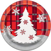 "Rustic Plaid Christmas Round 7"" Dessert Plates  8ct"