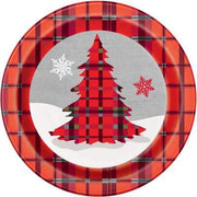 "Rustic Plaid Christmas Round 9"" Dinner Plates  8ct"